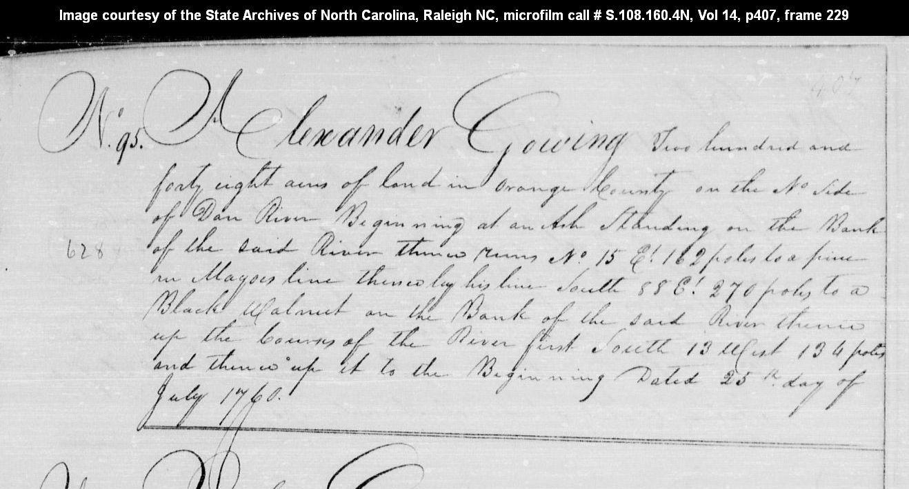 II, 1987] Book 14, Page 407; 248 Acres on North side of Dan River. Orange  Co, NC. http://www.nclandgrants.com/grant/?mars=12.14.95.625&qid=82726&rn=1