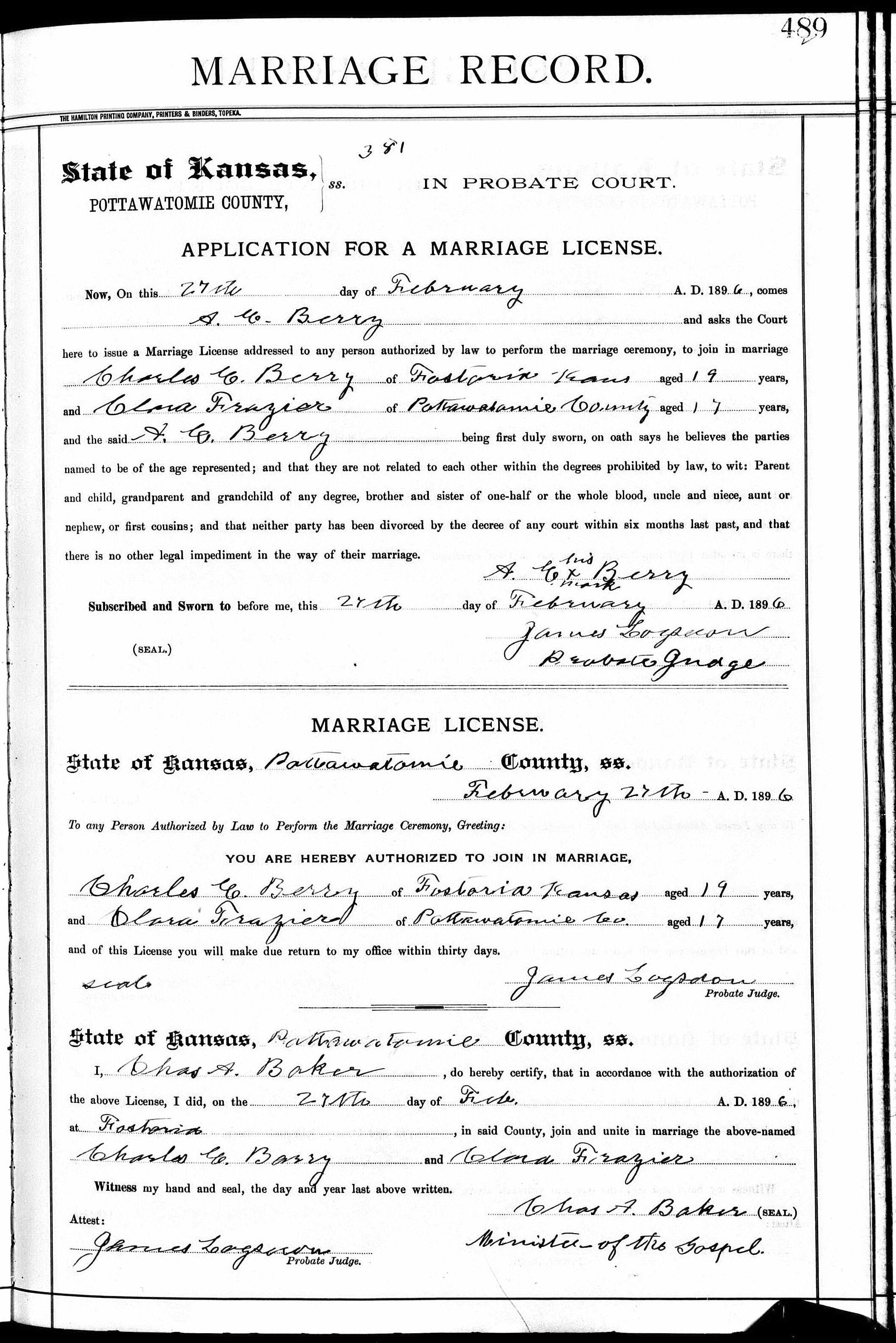 Kansas pottawatomie county fostoria - Noted Events In Their Marriage Were Marriage 27 Feb 1896 Fostoria Pottawatomie Kansas